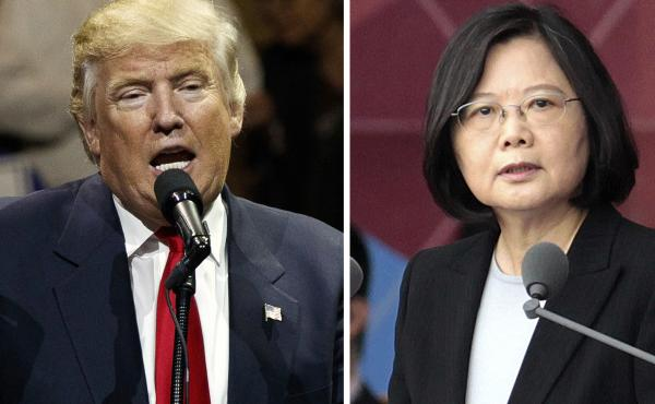 """After President-elect Donald Trump's conversation with Taiwan's President Tsai Ing-wen (right), and his subsequent suggestion that the One China policy could be reconsidered, a Chinese government spokesman warned that if the policy """"is interfered with or"""