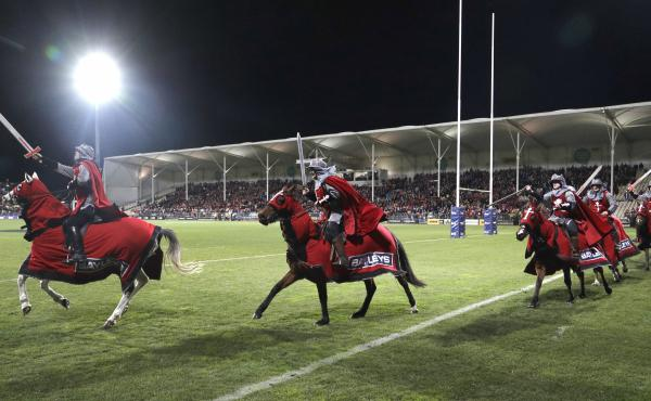Pictured here in 2018, the Crusader horsemen ride around the arena before the start of a Super Rugby semifinal match. The Crusaders announced Wednesday that the team will be considering a change to its name and branding following the Christchurch attacks
