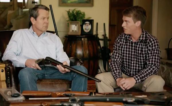 Brian Kemp, Georgia's Secretary of State, points a gun at a young man in one of his ads for his campaign for governor. It's spurred national outrage.