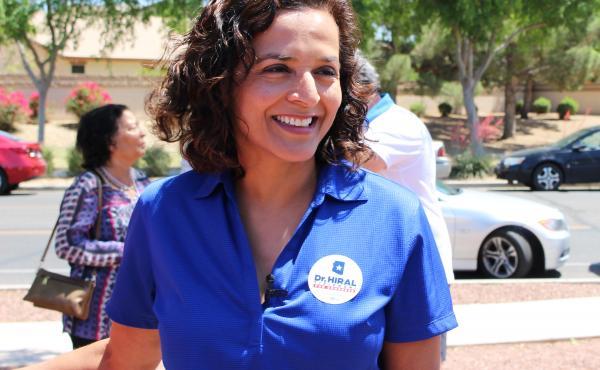 Democratic candidate Hiral Tipirneni campaigns in Arizona's 8th Congressional District northwest of Phoenix. Tipirneni faces Republican Debbie Lesko in a special election next week.