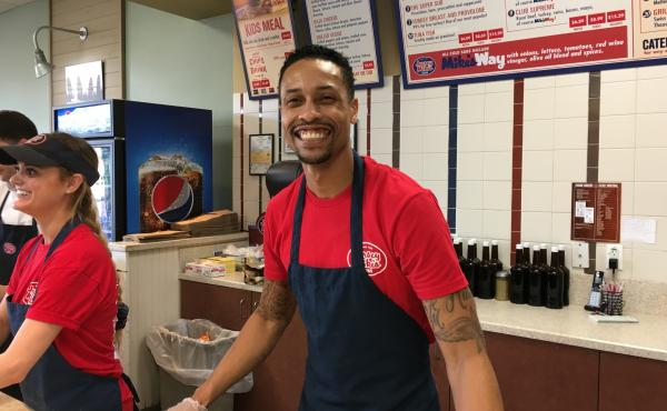 Manager Brian Murray of Jersey Mike's in Thousand Oaks, Calif. The store donated one half of a day's proceeds to a fund for the families of victims of the Borderline Bar & Grill shooting.