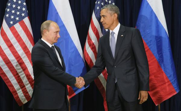President Obama and Russian President Vladimir Putin shake hands before their private meeting at UN headquarters Monday.