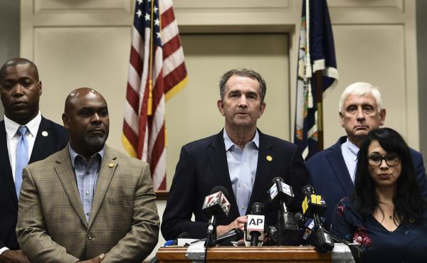 Virginia Gov. Ralph Northam speaks at a news conference Saturday about the mass shooting in Virginia Beach the day before.