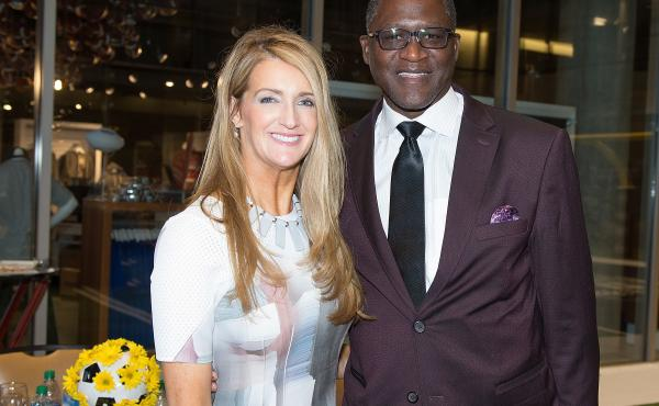 Kelly Loeffler and NBA Hall of Famer Dominique Wilkins attend an event in Atlanta in 2016.
