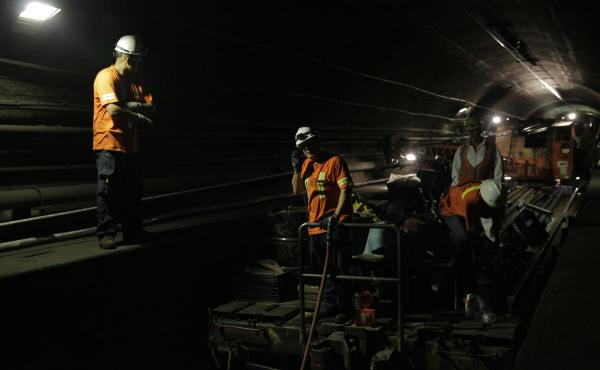 Amtrak workers install new electrical cable in the north tube of the Hudson River tunnels. Amtrak says roughly 200,000 riders use these tunnels on a daily basis.