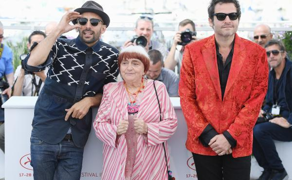Faces Places co-directors JR and Agnes Varda (along with composer Matthieu Chedid, right) at this year's Cannes film festival.