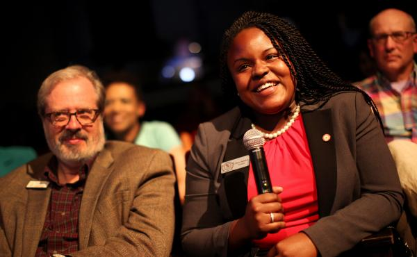 Olivia Sedwick, student government president of Winston-Salem State University, and Tom Hanchett, historian of the Levine Museum of the New South, offered perspective about voting rights.