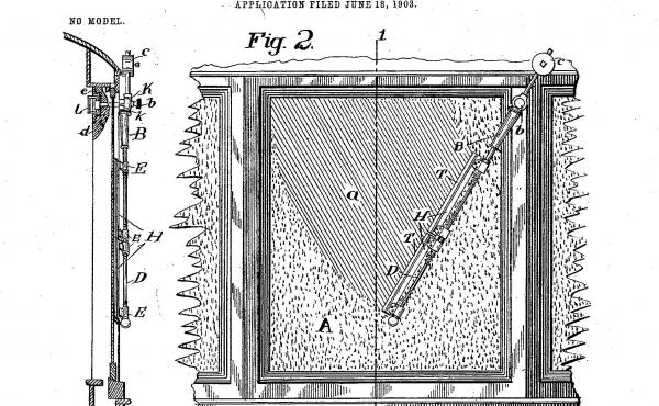 """Mary Anderson's illustration of her 1903 patented """"window cleaning device."""""""