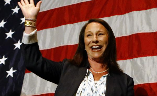 Alabama Rep. Martha Roby waves to supporters during the watch party in Montgomery, Ala., as she wins the runoff election on Tuesday.