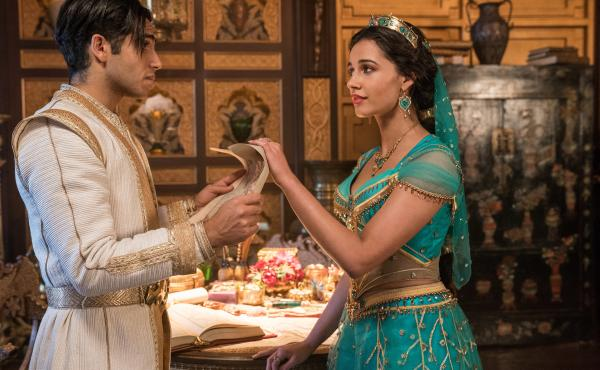 Shining? Sure. Shimmering? Yep. Splendid? Um ....: Aladdin (Mena Massoud) and Jasmine (Naomi Scott) in the latest live-action adaptation of the 1992 animated Disney film.