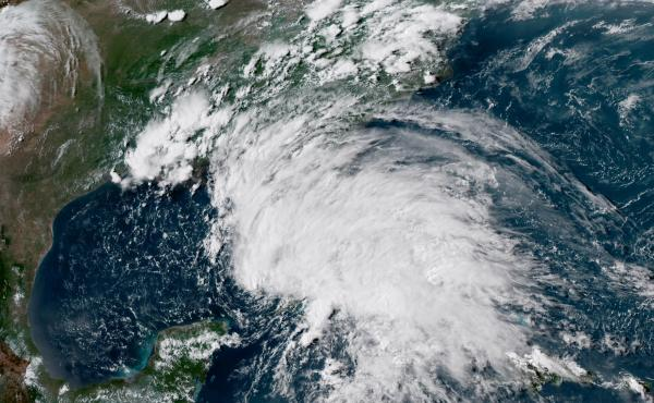 This GOES-16 GeoColor satellite image taken on May 26, at 21:30 UTC, and provided by the National Oceanic and Atmospheric Administration (NOAA), shows Subtropical Storm Alberto in the the Gulf of Mexico. The slow-moving system made landfall on Monday in t