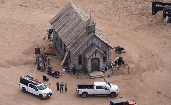 This aerial photo shows the Bonanza Creek Ranch in Santa Fe, N.M., on Oct. 23. Actor Alec Baldwin fired a prop gun on the set of a Western being filmed at the ranch last Thursday, killing the cinematographer, officials said.