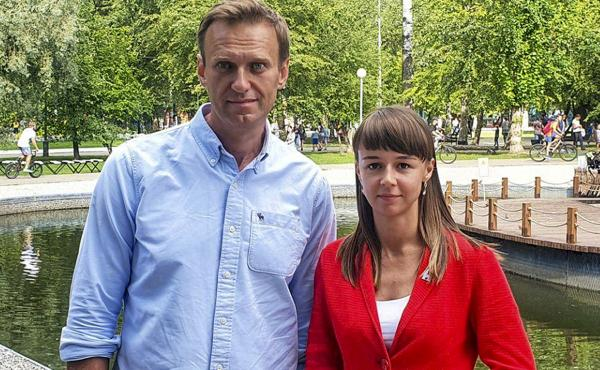 In this August photo, Alexei Navalny poses for a photo with Siberian politician Ksenia Fadeyeva. Navalny was removed from a medically-induced coma in a Berlin hospital after suffering what German authorities say was a poisoning with a chemical nerve agent