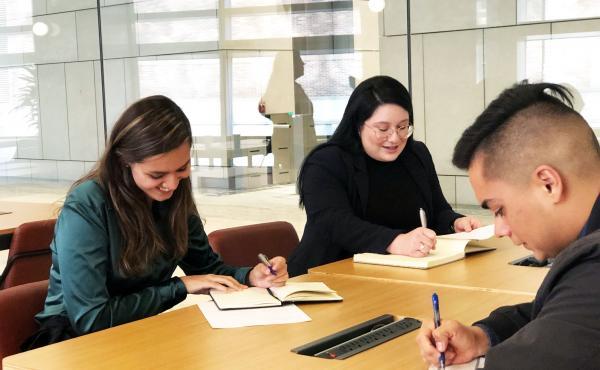 LEAP fellows Astrid Saenz, Fatima Salcido, and Victor Briseno participating in a law school application workshop.