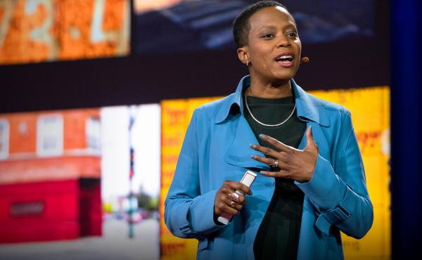 Amanda Williams speaks at TEDWomen 2018: Showing Up, November 28-30, 2018, Palm Springs, California. Photo: Callie Giovanna / TED