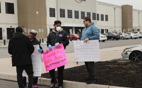 Amazon workers hold a walkout over conditions at a Staten Island warehouse in March 2020.