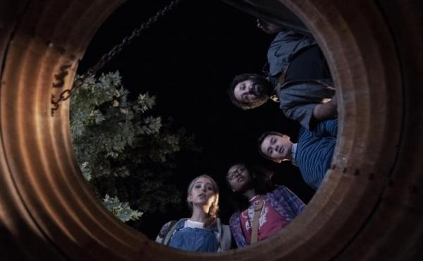 (Center to Right): Samantha (Jessica Rothe), Becky (Ashleigh LaThrop), Ian (Dan Byrd) and Wilson (Desmin Borges) are bunker buddies in Utopia.
