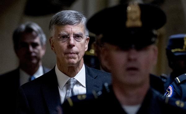 Acting Ukraine Ambassador William Taylor leaves a closed-door meeting on Capitol Hill after testifying as part of the House impeachment inquiry last month.