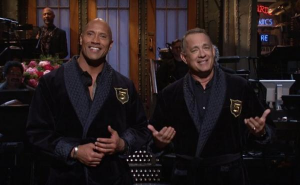 """Dwayne """"The Rock"""" Johnson hosted the season finale for Saturday Night Live. Johnson, who has been publicly toying with the idea of running for president, recruited Tom Hanks to be his vice president."""
