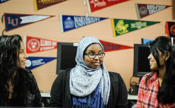 Leslie Morales (from left), Soraya Mohamud and Tanjum Choudhury discuss what it's like to be 15. All three are sophomores at Montgomery Blair High School in Silver Spring, Md.