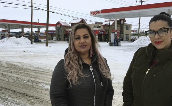 Martha Hernandez (left) and Ana Suda say they were interrupted and detained because they spoke Spanish while shopping at a convenience store in Havre, Mont. They've now filed a lawsuit.