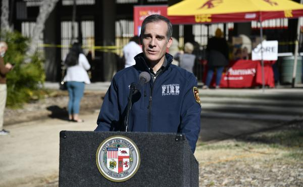 Los Angeles Mayor Eric Garcetti visits a coronavirus vaccination site at the city's Lincoln Park on Wednesday.
