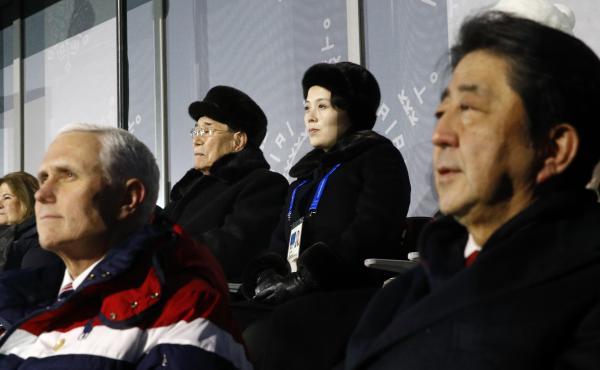 Kim Yong Nam, top left, president of the Presidium of North Korean Parliament, and Kim Yo Jong, sister of North Korean leader Kim Jong Un, top right, sit behind U.S. Vice President Mike Pence, bottom left, and Japanese Prime Minister Shinzo Abe, bottom ri