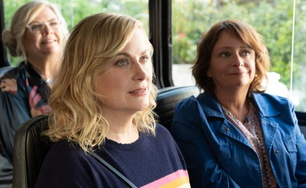 Amy Poehler (center) is the director and producer of Wine Country and stars in the film along with friends Paula Pell (left) and Rachel Dratch.