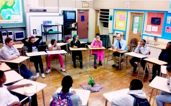 A restorative justice circle at Edna Brewer Middle School in Oakland, Calif.