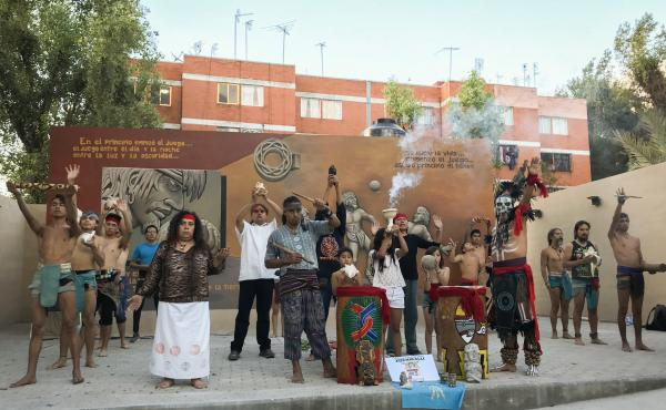 At the end of practice at the Xochikalli cultural center in Mexico City, ulama ballgame players perform a brief dedication to Aztec gods.