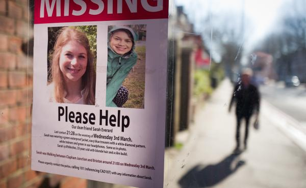 Posters seeking information about Sarah Everard appear near Clapham Common in London in March after her disappearance. Her body was later found in Kent in southeast England. Wayne Couzens, a London Metropolitan Police officer, has admitted to kidnapping a