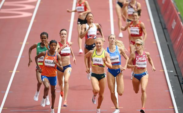 Dutch athlete Sifan Hassan wins the race in the first round of women's 1,500 meter heats at the Tokyo Olympics on Monday.