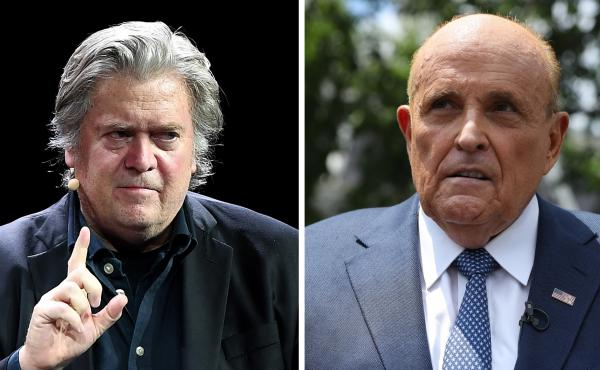 The New York Post's claims about Hunter Biden relied on Steve Bannon (left), Rudy Giuliani and a heavy dose of assumptions.