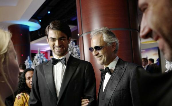 Andrea Bocelli (center) and his son, Matteo, attend the U.K. premiere of Disney's The Nutcracker And The Four Realms on Nov. 1, 2018, in London.