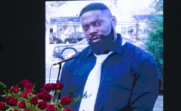 An image of Andrew Brown Jr. at a memorial on Saturday.
