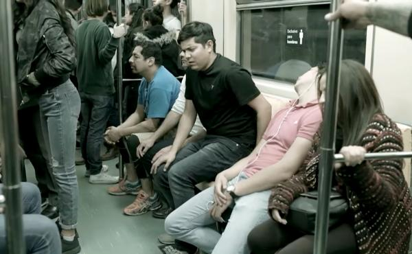Activists hope a provocative new campaign will prod male riders of Mexico City's public transit system to change behavior toward female transit riders.