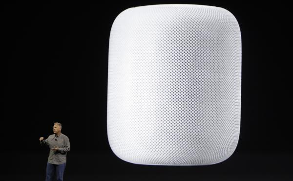 Apple executive Phil Schiller introduces the HomePod speaker at the Apple Worldwide Developers Conference in San Jose, Calif.