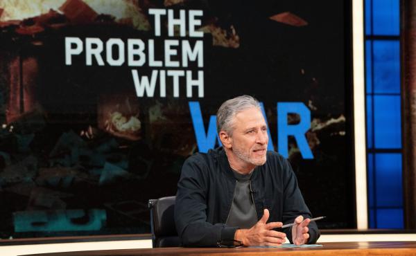 "Host Jon Stewart on the set of ""The Problem with Jon Stewart."""