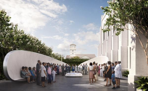 An architectural rendering shows the proposed design for a memorial on the Emanuel AME Church grounds, showing the fellowship benches and names fountain as seen from Calhoun Street in Charleston, S.C.