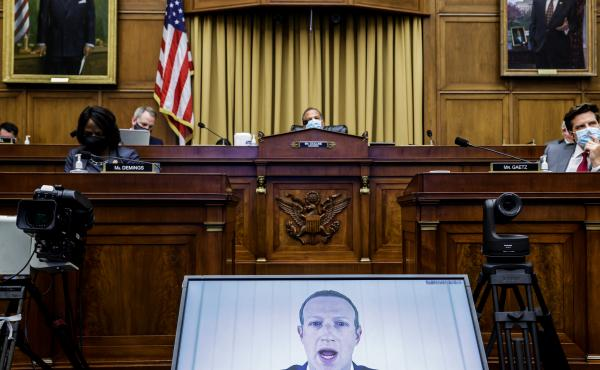 Facebook CEO Mark Zuckerberg speaks via videoconference during a House subcommittee hearing on July 29 in Washington, D.C.