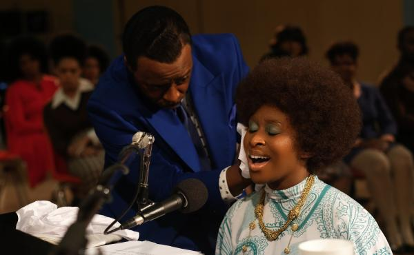 Courtney B. Vance, left, as C.L. Franklin, with Cynthia Erivo as Aretha Franklin, in a scene from the miniseries Genius: Aretha set at The New Temple Missionary Baptist Church.