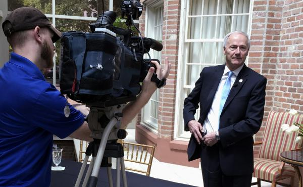 Arkansas Gov. Asa Hutchinson prepares for an interview at the Governor's Mansion in Little Rock, Ark., on April 13. The governor met with reporters to discuss the state's schedule of executions. So far, one of the executions has been carried out, four hav