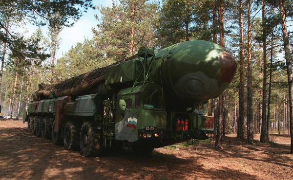 """A Russian ICBM SS-25 """"Topol"""" (Poplar) during military training near Irkutsk, Siberia, Russia."""
