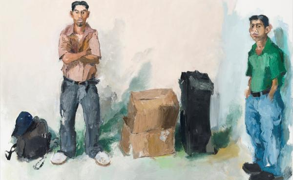 Years ago, John Sonsini began approaching men in Los Angeles who were looking for work — and offering them modeling jobs. The results are on view in a show called Cowboy Stories & New Paintings. Above, Saul & Lorenzo, 2008.