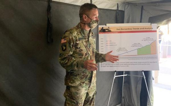 Gen. Jim McConville, the Army chief of staff, visiting Fort Irwin in California's Mojave Desert. The Army is working to get back to large-scale training after a three-month hiatus due to concerns about the coronavirus.