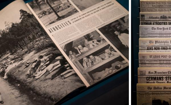At the close of World War II, when visual evidence of mass murder finally surfaces, Americans can no longer doubt the stories of Nazi cruelty. Still, the narrative is caught up in a blur of other front-page headlines: Americans celebrating the victory ove