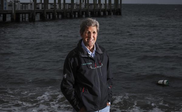 Former Secretary of State, John Kerry poses on Martha's Vineyard in Vineyard Haven, Mass., on Sept. 18, 2020.
