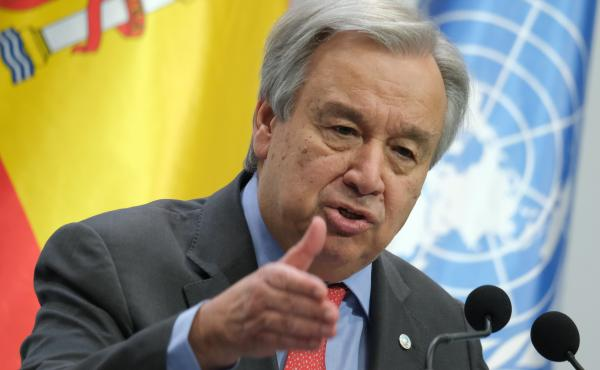 "United Nations Secretary-General António Guterres at the opening day of the COP25 climate conference on Monday in Madrid. ""Do we really want to be remembered as the generation that buried its head in the sand? That fiddled while the planet burned?"" he sa"