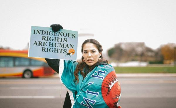 Bernadette Demientieff of the Gwich'in Steering Committee participates in a December 2017 event in Washington, D.C., at which advocates pushed Congress to protect the Arctic National Wildlife Refuge from oil development.