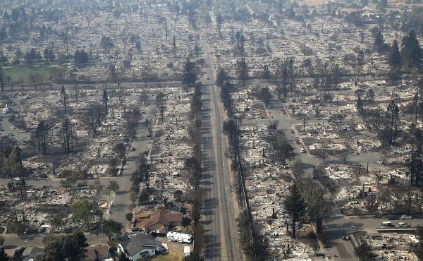 Hundreds of homes in the Coffey Park neighborhood that were destroyed by the Tubbs Fire on October 11, 2017, in Santa Rosa, California.
